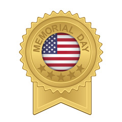 memorial day seal on gold coin and ribbon with center flag