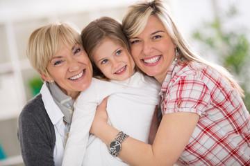 happy grandma, mother and daughter