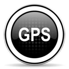 gps icon, black chrome button