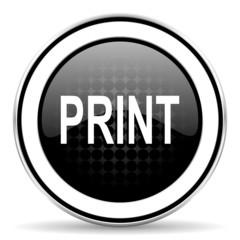 print icon, black chrome button