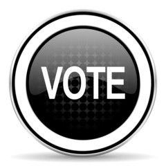 vote icon, black chrome button