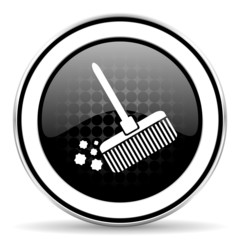broom icon, black chrome button, clean sign