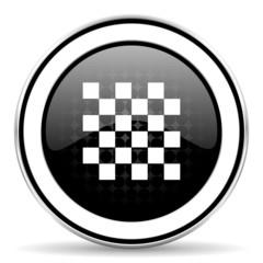 chess icon, black chrome button