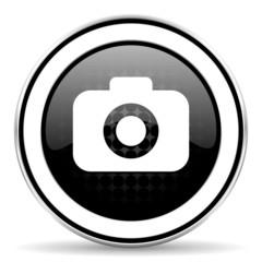 photo camera icon, black chrome button, photography sign