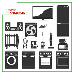 Scaled monochromatic home appliances vector illustration