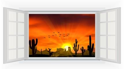 Open window  of cactus tree when the sunset