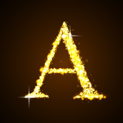 Alphabets A of gold glittering stars