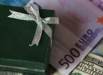 present box and money - dollar and euro
