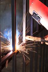 Worker welding - Stock image