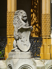 Lion statue. Hluboka castle, South Bohemia