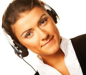Portrait of woman customer service worker