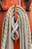Ropes and mast details of sailing boat