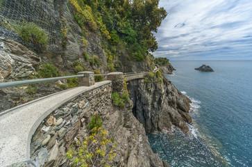 hiking trail in cliff in Monterosso, Cinque Terre, Italy