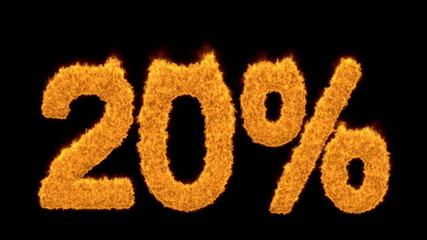 20 or twenty percent written with fire fonts