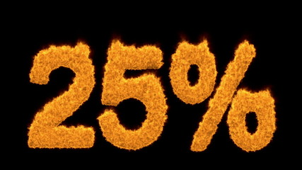 25 or twenty-five percent written with fire fonts