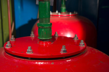 Red Receiver tanks in the boiler room
