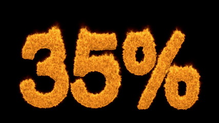 35 percent in flaming orange numerals