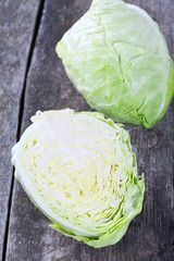 cabbage on wooden surface