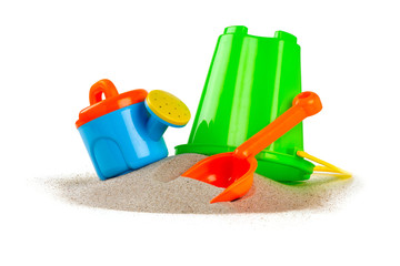 colorful beach toys isolated on white