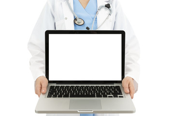 Doctor showing laptop with copy space