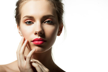 Close-up of a girl model with a beautiful face with make-up