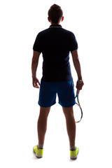 silhouette of tennis player back