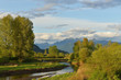 Pitt River and Golden Ears Mountain in spring