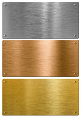 silver, gold and bronze metal high quality plates set