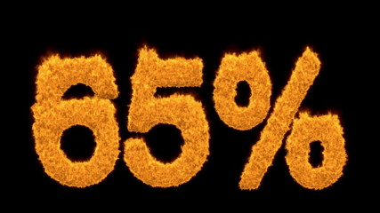65 or sixty-five percent written with fire fonts
