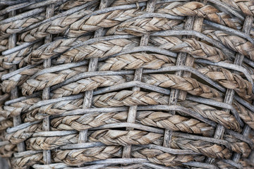 Texture of Vintage Basket with Old Wood Background