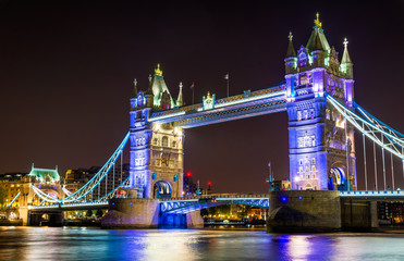 Night illumination of Tower Bridge in London - England