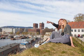 Two beautiful nordic girls enjoying their spare time in Oslo