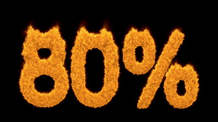 80 or eighty percent written with burning fonts