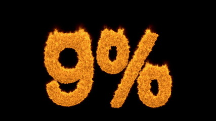 9 percent in fiery flaming turbulent gold numerals