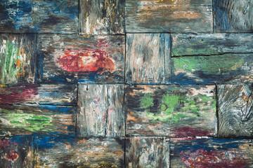 Old colorful teak wood desk background