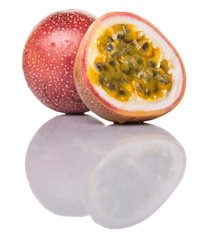 Passion fruit over white background