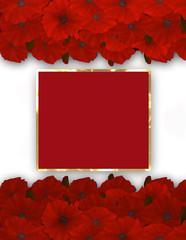 Flower frame. Floral border. Bouquet of poppy.