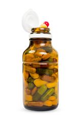 Full transparent bottle of pills