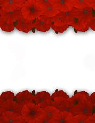 Flower frame. Floral border. Bouquet of red poppy.