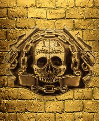skull, golden guns on a background of golden brick