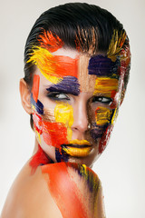 woman face with bodyart