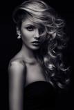 Fototapety beauty girl curls monochrome_3