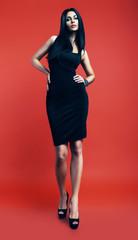 sexy brunette woman in black dress