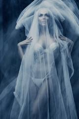woman under white veil