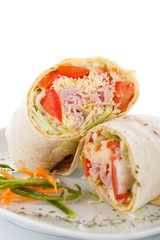 Vegetable and meat wrap