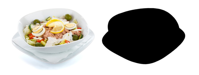 Tuna salad over white with selection mask