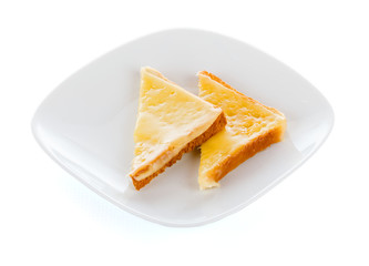 Two slices of cheese toast