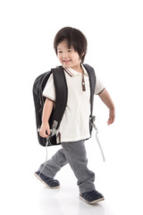 Portrait of Asian schoolboy with backpack