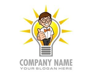nerd bulb logo image vector