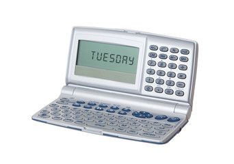 Electronic personal organiser isolated - Tuesday